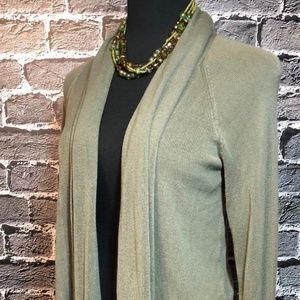 Chico's Asym Sweater Open Front Olive Green Sz 1